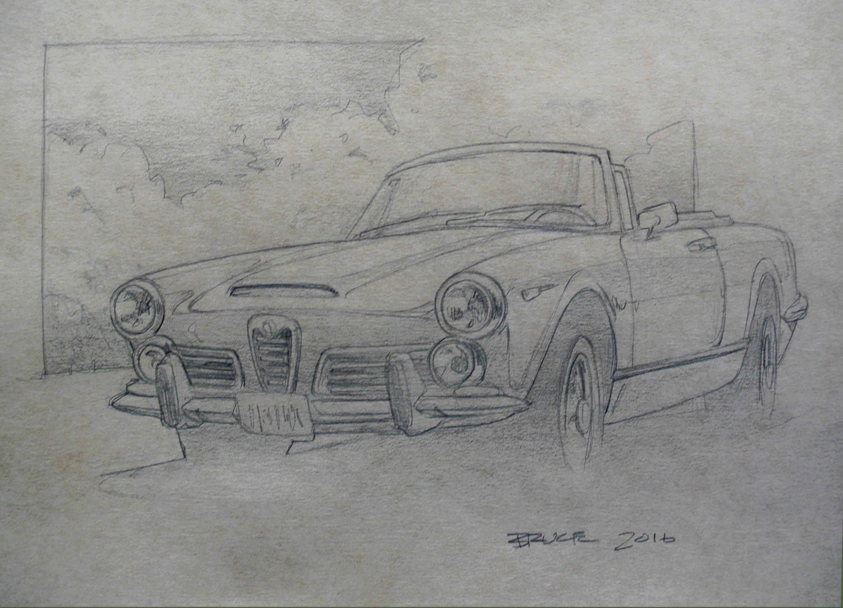 Sketch Car Parked Outsidde